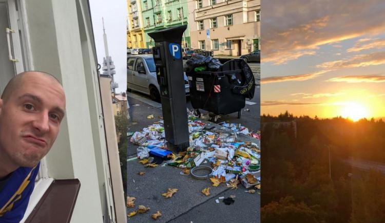 FOTOGALERIE: Jaký výhled z okna mají Pražané? Odpadky i krásné západy slunce