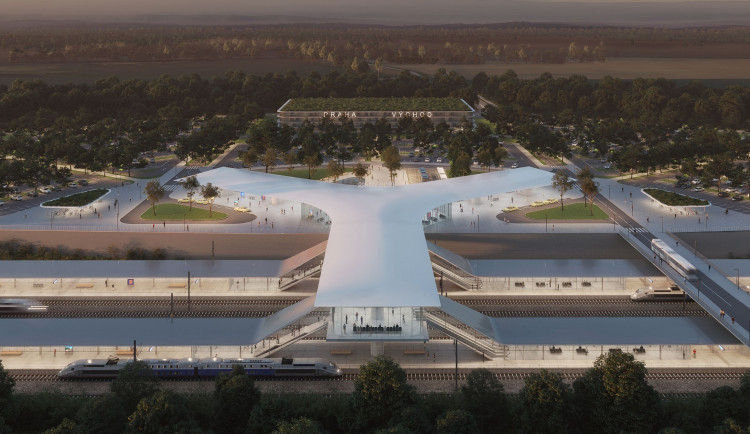 VIZUALIZACE: Podívejte se, jak bude vypadat první terminál vysokorychlostní železnice v Česku s názvem Praha východ